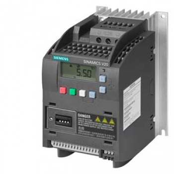 6SL3210-5BE13-7CV0 SINAMICS V20 380-480 V 3AC -15%/+10% 47-6 Rated power 0.37 kW with 150% overload for 60 sec. Integrated filter C3 I/O interface